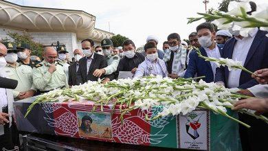 Photo of برگزاری مراسم وداع با پیکر شهید نسیم افغانی در حرم رضوی